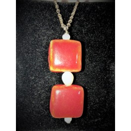 Red Glazed Tiles necklace and earrings.